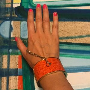Orange Bangle with gold chain